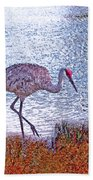 Sandhill Crane Stroll Painted Beach Towel