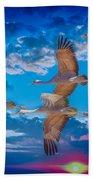 Sandhill Cranes Beach Towel