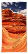 Sandstone Waves And Clouds Beach Towel