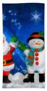 Santa And Frosty Painting Image With Canvased Texture Beach Towel