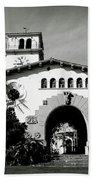 Santa Barbara Courthouse Black And White-by Linda Woods Beach Towel