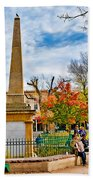 Santa Fe Obelisk A Pigeon And An Accordian Player Beach Towel