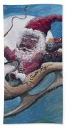 Santa Hog Beach Towel