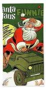 Santa In A Hurry Beach Sheet