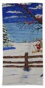 Santa On Skis Beach Towel