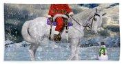 Santa Rides To Town Beach Towel