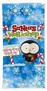 Santa's Workshop Penguin Beach Towel