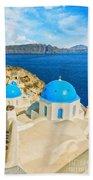 Santorini Oia Church Caldera View Digital Painting Beach Towel