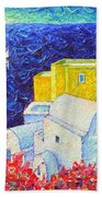 Santorini Oia Colors Modern Impressionist Impasto Palette Knife Oil Painting By Ana Maria Edulescu Beach Towel