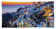 Santorini Sunset Beach Towel