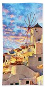 Santorini Windmill At Oia Digital Painting Beach Towel