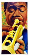 Satchmo, Louis Armstrong Painting Beach Towel
