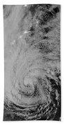 Satellite View Of Hurricane Sandy Beach Towel