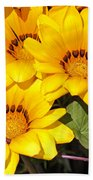 Satin Yellow Florals Beach Towel