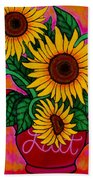 Saturday Morning Sunflowers Beach Towel