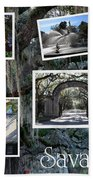 Savannah Scenes Collage Beach Towel