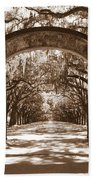 Savannaha Sepia - Wormsloe Plantation Gate Beach Towel
