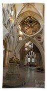 Saxon Baptismal Font Wells Cathedral, Somerset Uk Beach Towel