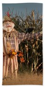 Scarecrow In A Corn Field Beach Towel