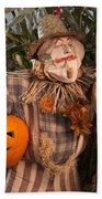 Scarecrow With A Carved Pumpkin  In A Corn Field Beach Towel