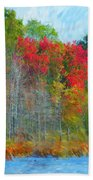 Scarlet Autumn Burst Beach Towel