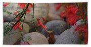 Scarlet Bugler Blossoms On Rocks Beach Towel