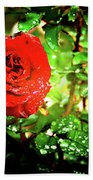 Scarlet Raindrops Beach Towel