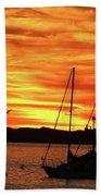 Scarlet Sunrise On Provincetown Pier 1  Beach Sheet