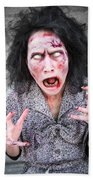 Scary Screaming Zombie Woman Beach Towel