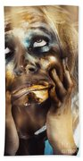 Scary Zombie Pulling Funny Face  Beach Towel