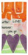 Scatter Love Beach Towel by Linda Woods