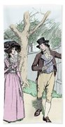 Scene From Sense And Sensibility By Jane Austen Beach Towel