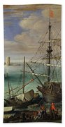 Scene Of A Sea Port Beach Towel by Paul Bril