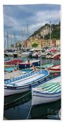 Scenic View Of Castle Hill And Marina In Nice, France Beach Towel