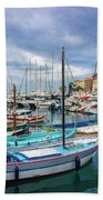 Scenic View Of Historical Marina In Nice, France Beach Towel