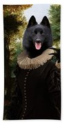 Schipperke Art Canvas Print - Forest Landscape With A Hunter And Noble Lady Beach Towel