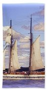 Schooner Mystic Under Sail Beach Towel