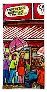 Schwartz's Deli Rainy Day Line-up Umbrella Paintings Montreal Memories April Showers Carole Spandau  Beach Towel