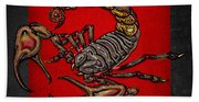 Scorpion On Red And Black  Beach Towel