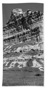 Scots Bluff Black And White Beach Towel