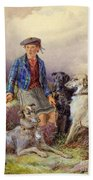 Scottish Boy With Wolfhounds In A Highland Landscape Beach Towel by James Jnr Hardy