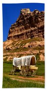 Scotts Bluff Wagon Train Panorama Beach Towel
