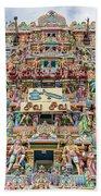sculptures on Arulmigu Kapaleeswarar Temple, Chennai, Tamil Nadu Beach Towel