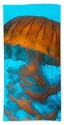 Sea Nettle Jellyfish - Orange And Turquoise Beach Towel