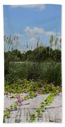 Sea Oats And Blooming Cross Vine Beach Sheet