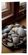 Sea Shells And Stones On Windowsill Beach Towel