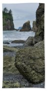 Sea Stacks And Boulders Washington State Beach Towel