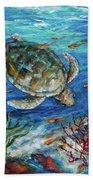 Sea Turtle Dive Beach Towel