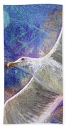Seagull Against Blue Abstract Beach Towel