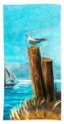 Seagull At Port Entrance Beach Sheet